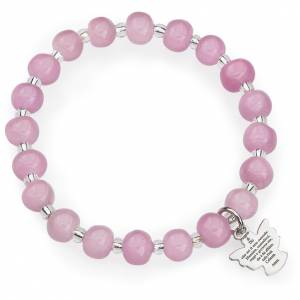 Pulseras AMEN: Pulsera AMEN para niños perlas de Murano rosadas plata 925