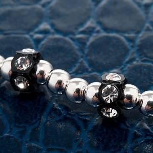 Pulsera elástica de plata y Swarovski color negro s2