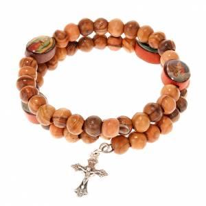 Pulseras rosario con muelle: Pulsera elastizada de madera de olivo con imagen