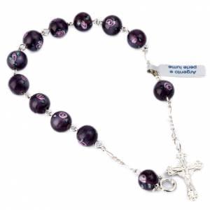 Pulseras de plata: Pulsera plata 800 granos 8mm perla púrpura