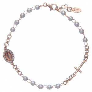 Pulseras AMEN: Pulsera rosario AMEN Milagrosa perlas plata 925 acabado rosado