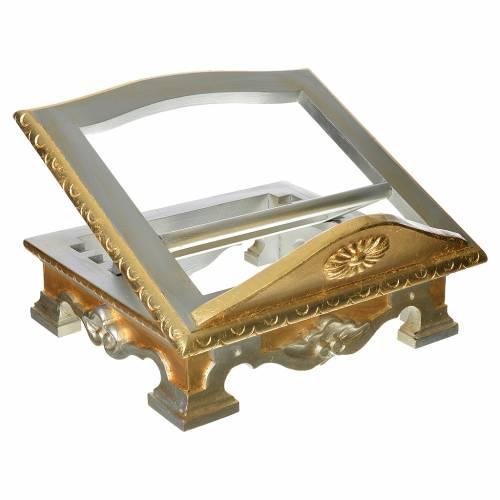 Pupitre de table bois feuille argent or s1