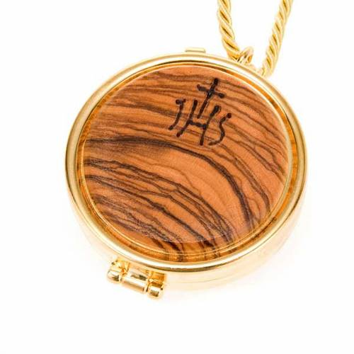 Pyx olive wood plaque IHS s1