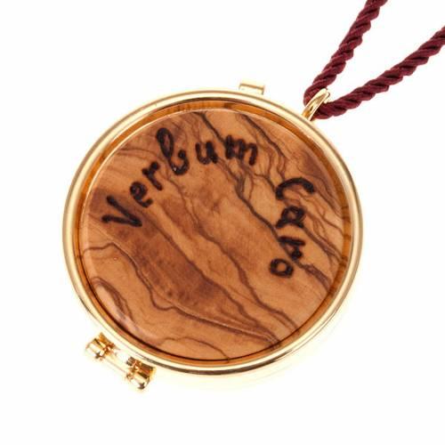 Pyx olive wood plaque 'Verbum Caro' s1