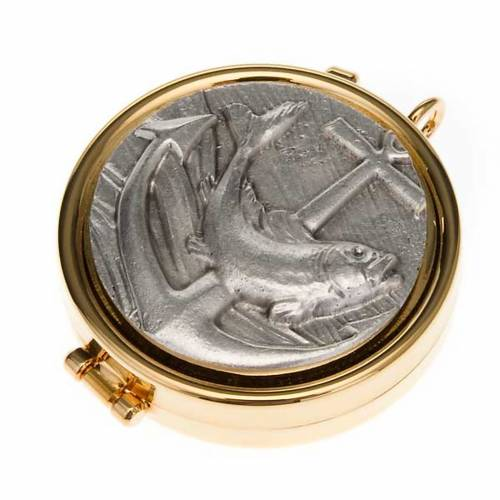 Pyx with fish and anchor plate in pewter s1