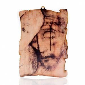Quadretto legno pergamena Volto di Cristo s1
