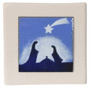 Presepe Stilizzato: Quadretto Natale blu argilla Centro Ave 10 cm
