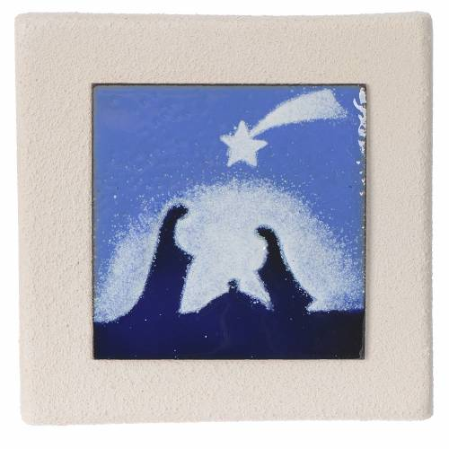 Quadretto Natale blu argilla Centro Ave 10 cm s1