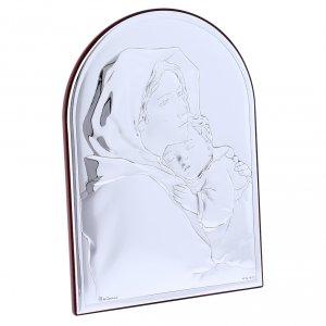 Quadro in bilaminato con retro in legno pregiato abbraccio Madonna con Gesù 18X13 cm s2