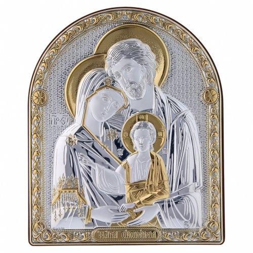 Quadro bilaminato retro legno pregiato finiture oro Sacra Famiglia 16,7X13,6 cm s1