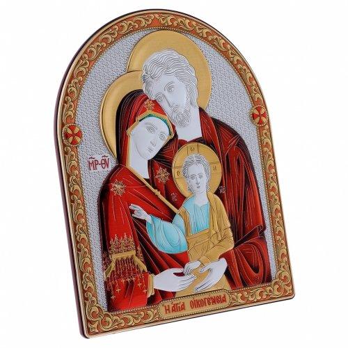 Quadro bilaminato retro legno pregiato finiture oro Sacra Famiglia rossa 24,5X20 cm s2