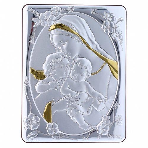 Quadro bilaminato retro legno pregiato rifiniture oro Madonna Angelo e Gesù 21,6X16,3 cm s4
