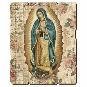Quadro in Legno Sagomato gancio retro Madonna Guadalupe 35x30 s1