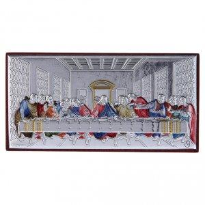 Quadro Ultima Cena colorato bilaminato retro legno pregiato 4,7X9,4 cm s1