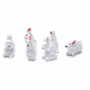 Animals for Nativity Scene: Rabbits in resin measuring 2 cm, 6 figurines