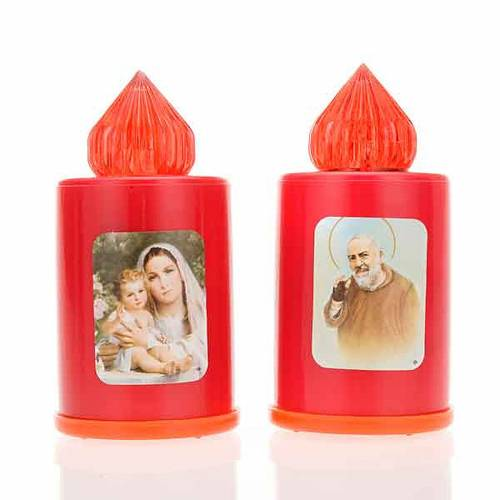 Red LED votive candle with image, 100 days s1