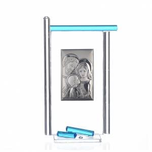 Regalos y Recuerdos: Regalo S.Familia plata Vidrio Murano Aguamarina 13x8cm
