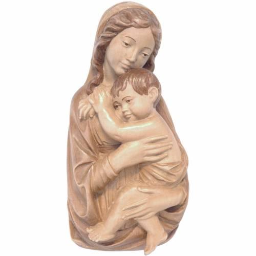 Relieve Virgen con Niño madera Valgardena patinadura múltiple s1