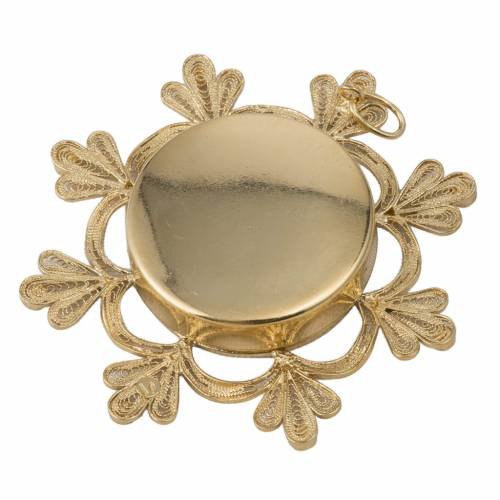 Reliquary in brass, floral decoration s4