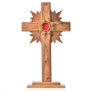 Reliquary olive wood with halo cross, silver 800 shrine s1