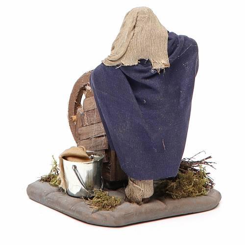 Rémouleur avec banc en bois 10 cm crèche Naples s3