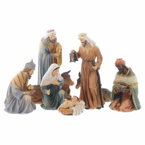 Resin nativity figurines, 8 pieces for a nativity of 20.5cm s1