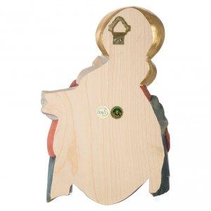 Rilievo Madonna bimbo rose legno colorato Valgardena s4
