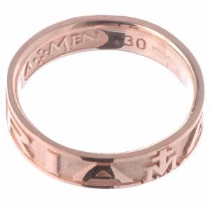 Gebetsringe: Ring AMEN Ave Maria rosa Silber 925