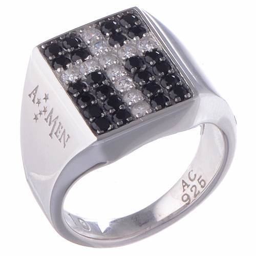 Ring AMEN Chevalier Model silver 925, Rhodium s1