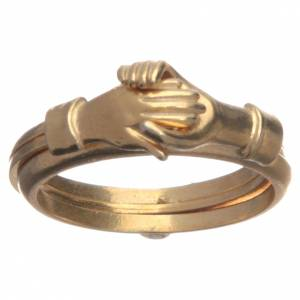 Prayer rings: Ring in golden 800 silver with 2 hands which can be opened