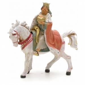 Roi Mage blanc sur cheval crèche Fontanini 12 cm s1