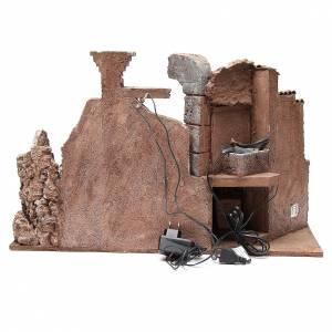 Roman set illuminated nativity with fountain and desk 40x65x30cm s4