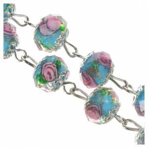 Rosario cristallo Azzurro con rosa 10 mm s4