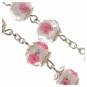 Rosario cristallo Bianco con rosa 10 mm s4