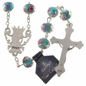 Rosarios de cristal: Rosario de cristal azul claro con rosa pintada 10 mm