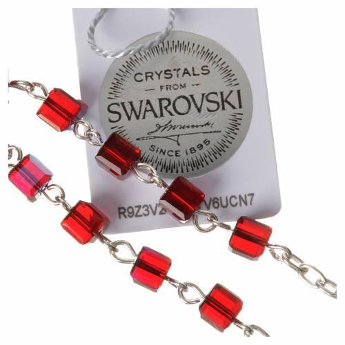 Rosario decina argento 800 grani Swarovski quadrati rossi s4