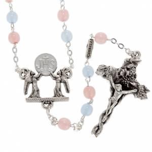 Rosarios Colección Ghirelli: Rosario Ghirelli Vidrio Bohemia rosa y azul de 6mm