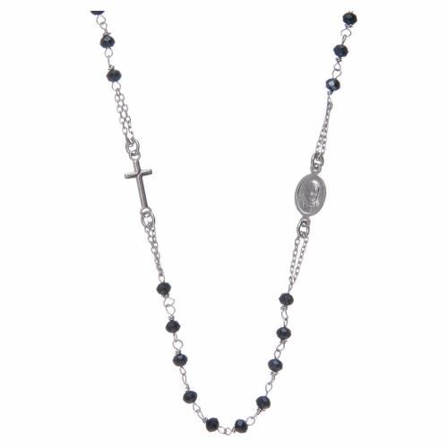 Rosario girocollo Amen Argento 925 e cristalli grigi 2