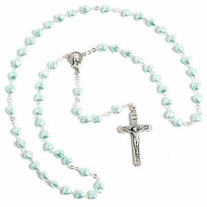 Rosarios símil perla: Rosario símil perla encerada corazón