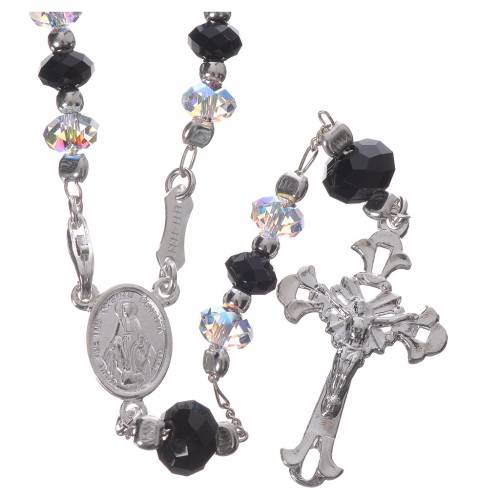 Rosary beads in 800 silver and black and white Swarowski, 6mm s1