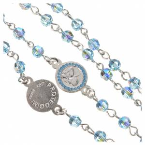 Rosary beads in 800 silver light blue Swarovski, Guardian Angel s4