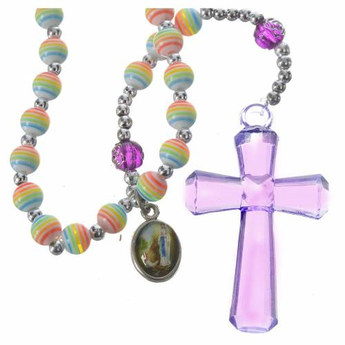 Rosary beads in rainbow coloured resin, 6mm Lourdes s1