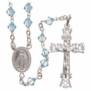 Silver rosaries: Rosary beads in Swarovski and sterling silver 6mm light blue