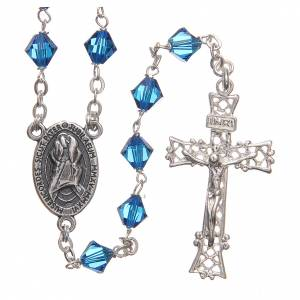 Silver rosaries: STOCK Rosary beads in Swarovski and sterling silver with Jubilee symbol 6mm aquamarine