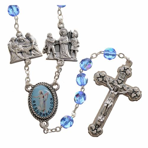 Rosary beads, stations of the cross, light blue crystal s1