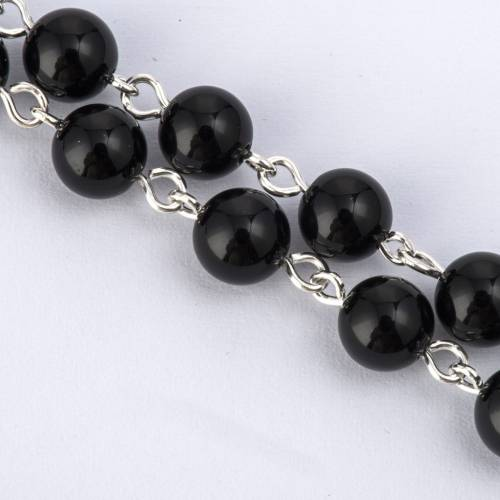 Rosary beads with Roman basilicas, Silver and onyx 0,24in s3