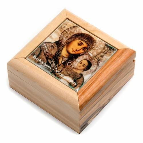 Rosary box in olive wood, Mary and baby s1