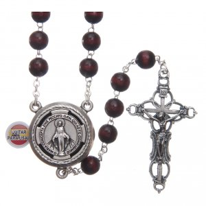 Rosary in burgundy wood with talking center piece Pope Francis prayer spanish 8 mm s1