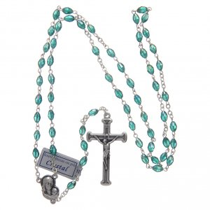Rosary in emerald crystal with cross and center piece in oxidised metal s4
