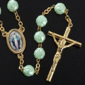 Rosary in glass with roses, green 6mm s3